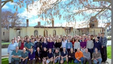 Observatory staff gather following 2003 fires (Mt Stromlo Archives)
