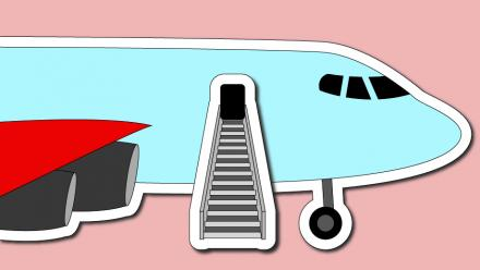 A landed plane with stairway representing the end of a journey