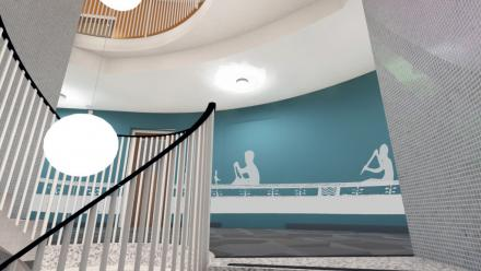 Stairwell with graphics