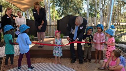 Vice-Chancellor Professor Brian Schmidt cutting the ribbon at the new ANU Goodstart Childcare Centre.