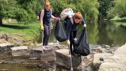 Volunteers cleaning the Creek