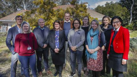 From left to right: Will Sanders; Siobhan Bourke; David Letts; Emily Lancsar; Paul Wyrwoll; Youn Jin Chung; Bec Colvin; Angie Bexley; Anthea Roberts; Elisabeth Huynh. Photo by Simon Jenkins, ANU.