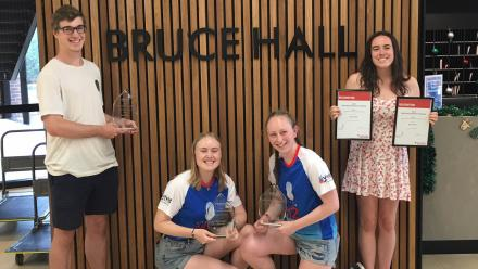 Bruce Hall  residents pictured with their trophies. Image courtesy ACT Chapter of Australian Red Cross.