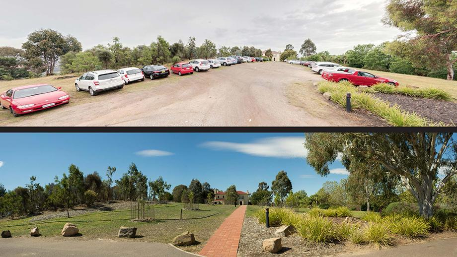 A 'before and after' shot showing the site's transformation from an informal carpark to the restored orchard and landscape