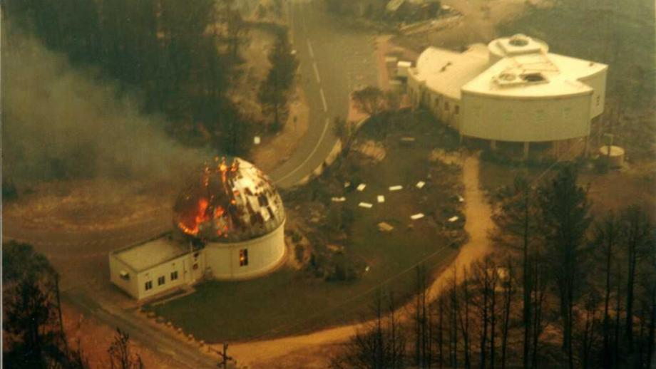 Aerial of Yale Columbia on fire, 2003 (ACTEW)
