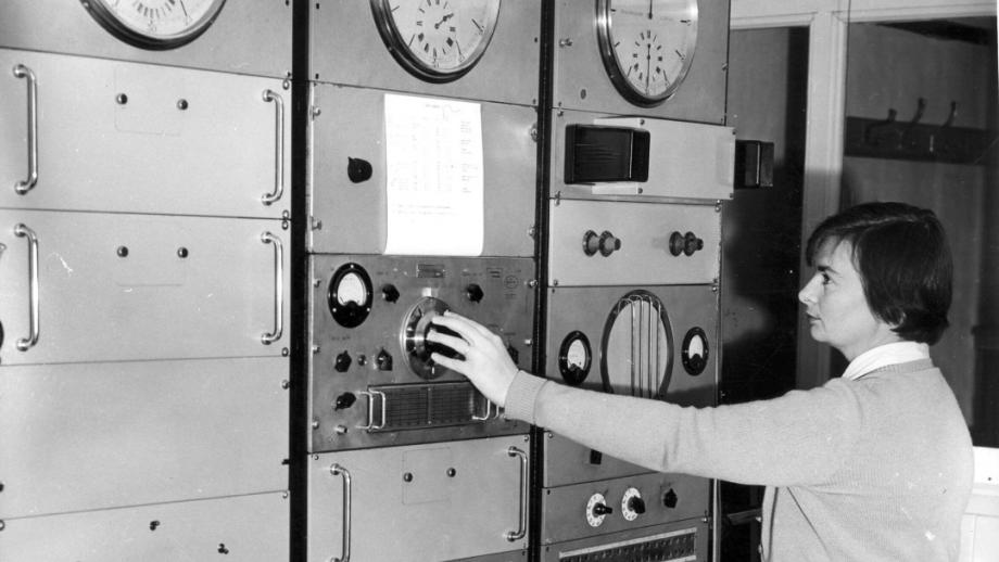 Claire Wehner adjusting for the Time Service, 1950s (Mt Stromlo Archives)