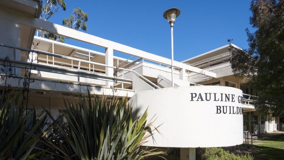 Designed by Sydney Ancher, the Pauline Griffin Building's strong horizontal features are characteristic of the International Style. (Darren Bradley)