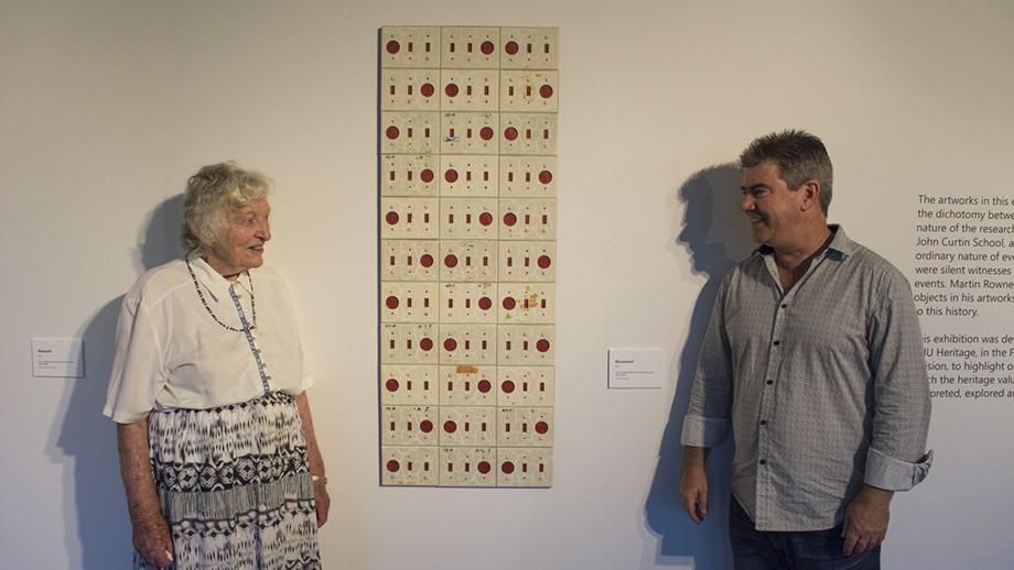 Rose Mason (nee Eccles), and artist Martin Rowney, with the artwork named in her honour, 'Rosamond'