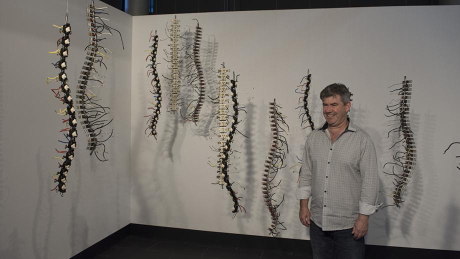 Sculptor Martin Rowney, with 'Neural Nexus'