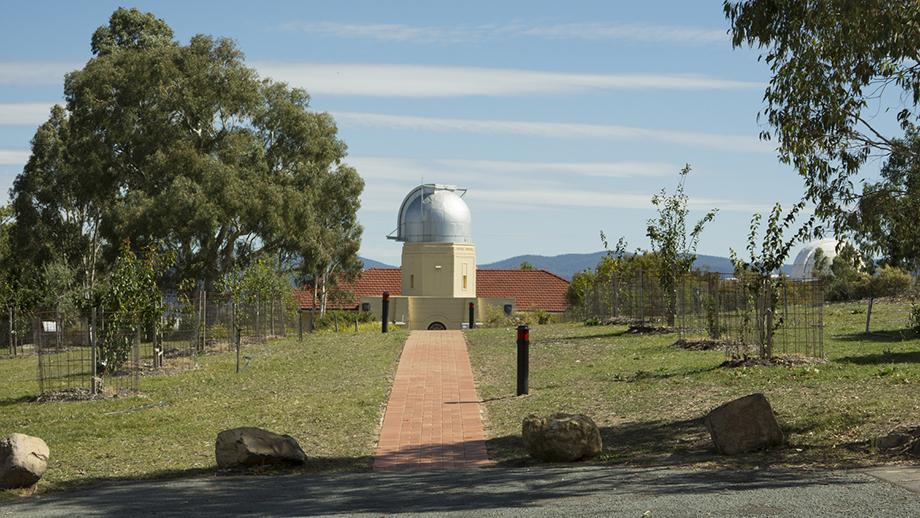 The restored orchard with the reinstated path leading to the Commonwealth Solar Observatory building