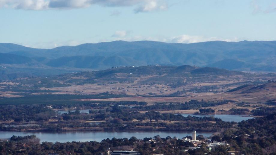 View of Stromlo from Canberra (Mt Stromlo Archives)