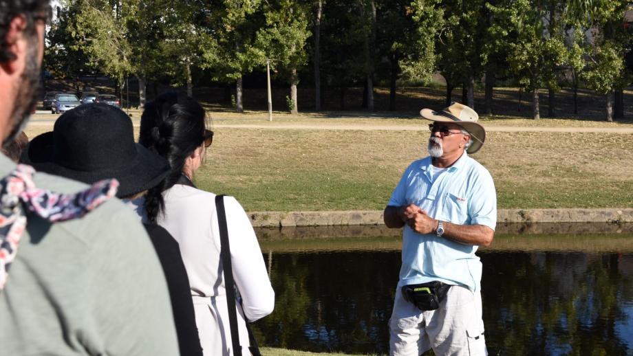 Ngunawal elder Wally Bell giving a tour of the ANU Acton campus. (Jack Dunstan)