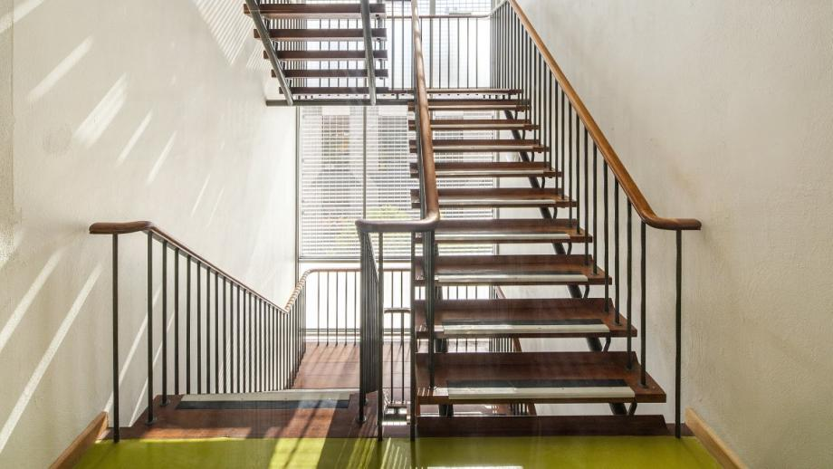 Original timber stairs and balustrades retained in the refurbishment of the building. (Stuart Hay)