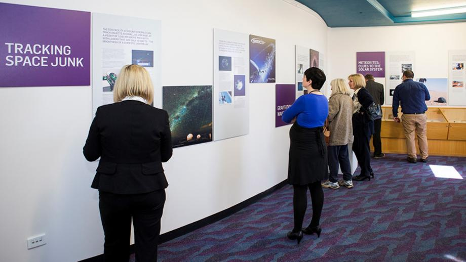 Displays on space junk and meteorites at the Mount Stromlo Observatory Visitor Centre, 2016. (Stuart Hay)