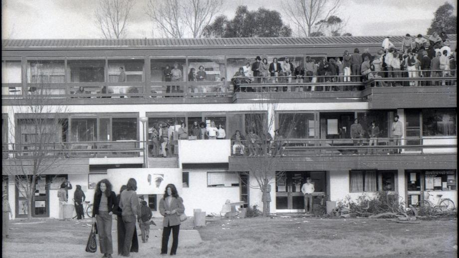 Student Union (later the Pauline Griffin Building), during Bush Week, 1972. (Greg Dickens)