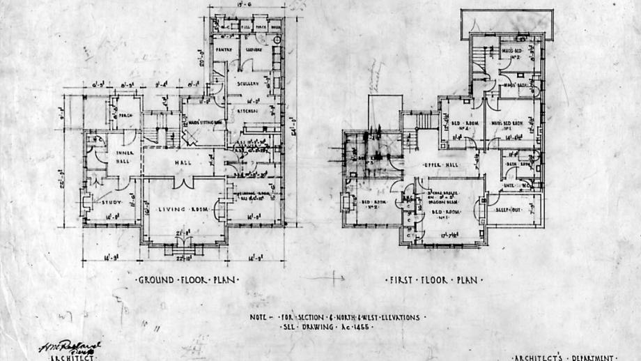Original plans of the Director's Residence (National Archives of Australia)