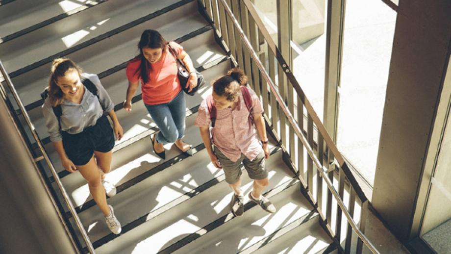 Three ANU students going down the stairs