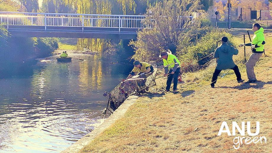 Men pulling shopping trolleys out of the creek
