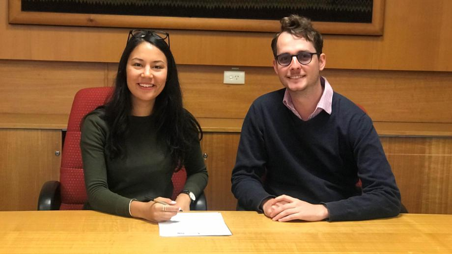 (L to R): ANU Students Association President Eden Lim, Postgraduate and Research Students' Association President Zyl Hovenga-Wauchope.