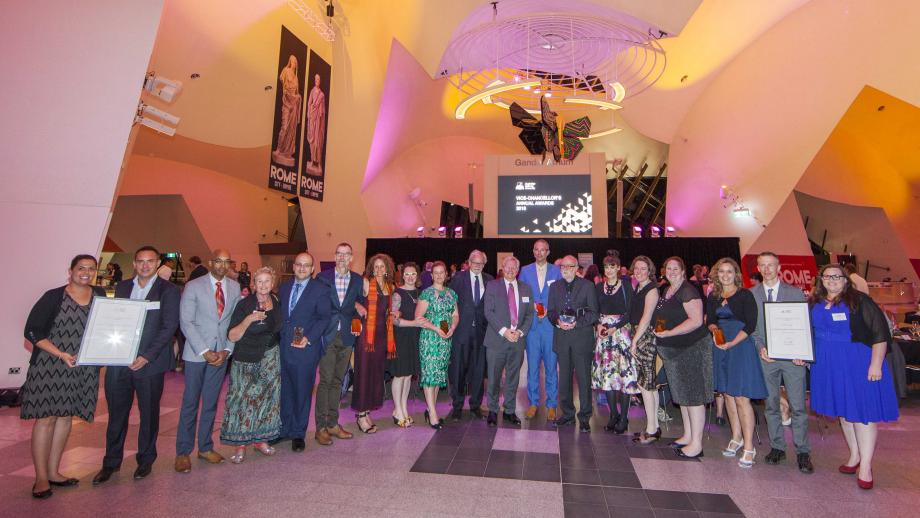 The recipients of the 2018 Vice-Chancellor's Annual Awards. Photo by Lannon Harley, ANU.
