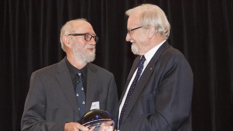 Peter Baume Award recipient, Emeritus Professor Frank Jackson with ANU Chancellor Professor The Hon Gareth Evans. Photo: Lannon Harley, ANU.