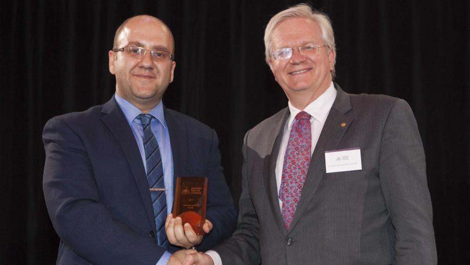 Recipient of the Vice-Chancellor's Award for Early Career Academics, Dr Mohsen Rahmani with Professor Schmidt. Photo by Lannon Harley, ANU.