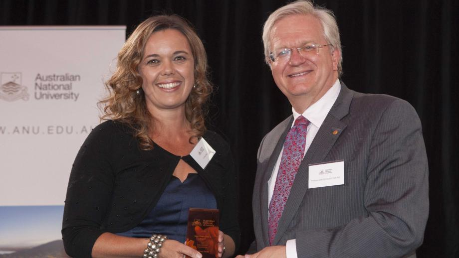Recipient of the Vice-Chancellor's Award for Educational Excellence, Dr Shari Read with Professor Schmidt. Photo by Lannon Harley, ANU.