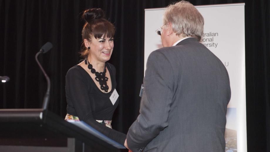 Recipient of the Vice-Chancellor's Award for Public Policy & Outreach, Dr Adele Chynoweth. Photo by Lannon Harley, ANU.