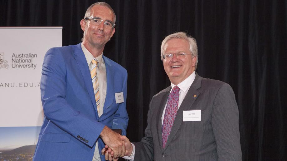 Recipient of the Vice-Chancellor's Award for Impact and Engagement, Dr Graham Walker with Professor Schmidt. Photo by Lannon Harley, ANU.