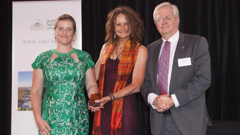 Recipients of the Vice-Chancellor's Award for Reconciliation, The Balawan Elective Team (Ms Amelia Zaraftis and Dr Amanda Stuart) with Professor Schmidt. Photo by Lannon Harley, ANU.