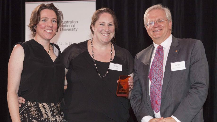 Recipients of the Vice-Chancellor's Award for Excellence in Equity and Diversity, the Supporting Breastfeeding at ANU Working Group (represented by Dr Katherine Carroll and Mrs Andrea Butler) with Professor Schmidt. Photo by Lannon Harley, ANU.