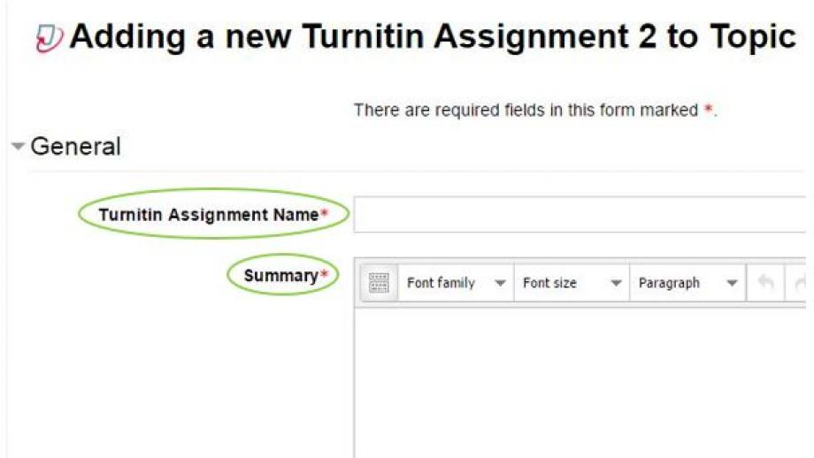 Adding a new Turnitin Assignment to Topic