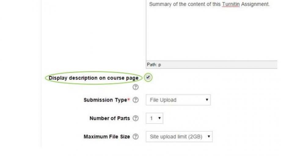 Display description on course page