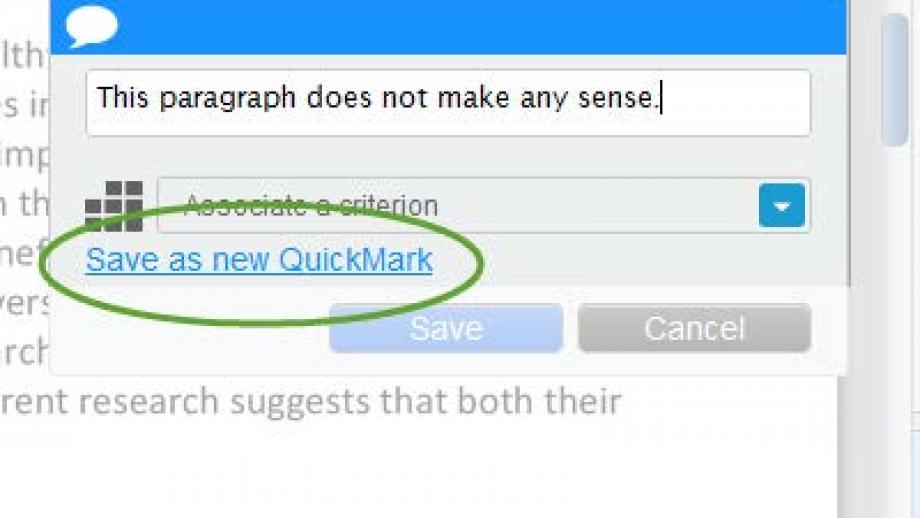 Turnitin. Creating your own QuickMark