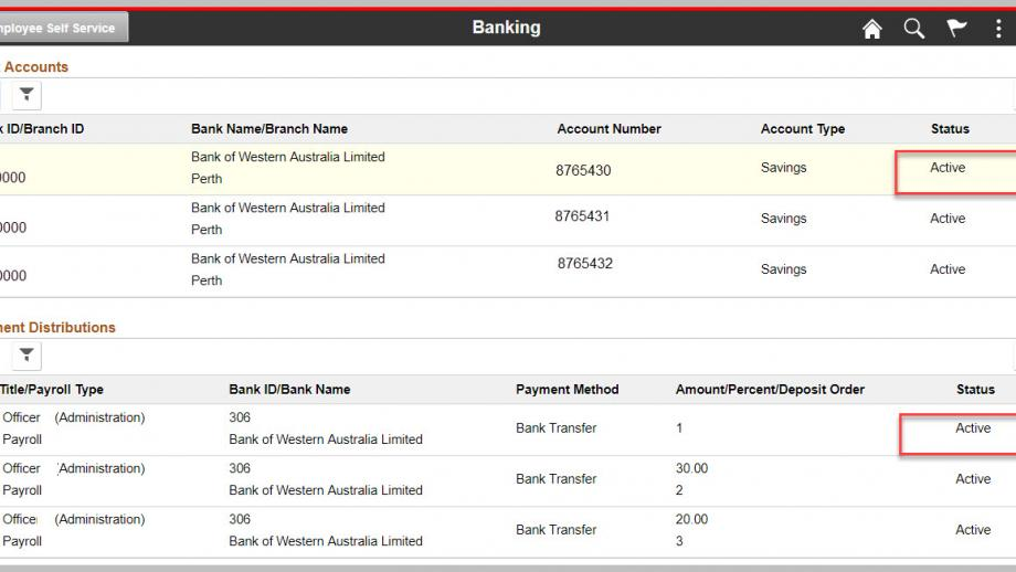 Banking page in Employee self service