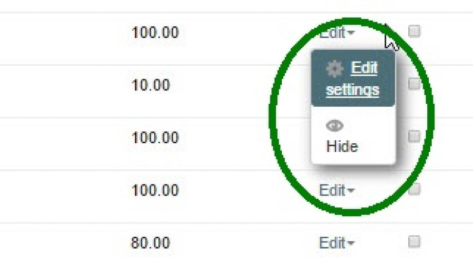 Edit settings in activity within Gradebook Setup