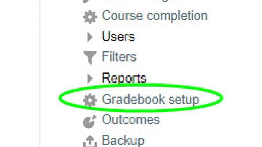 Screen shot of admin panel showing Gradebook Setup option