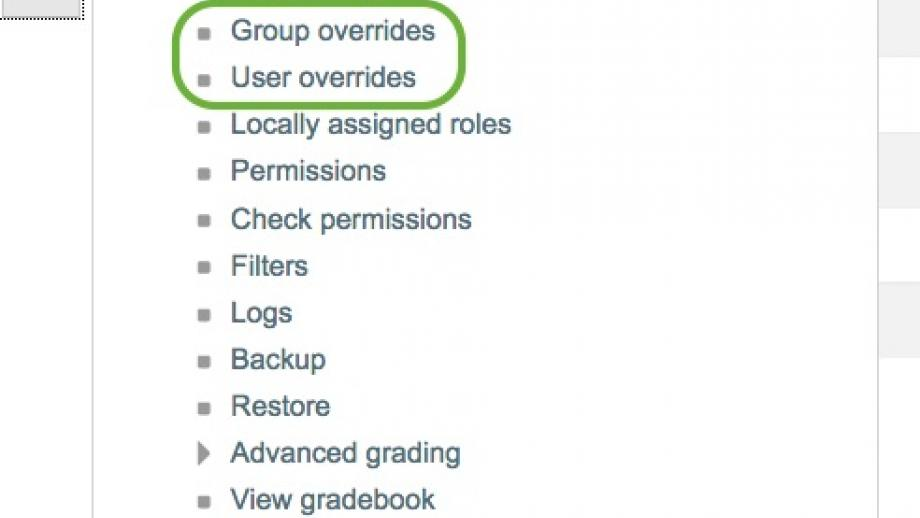User or group overrides