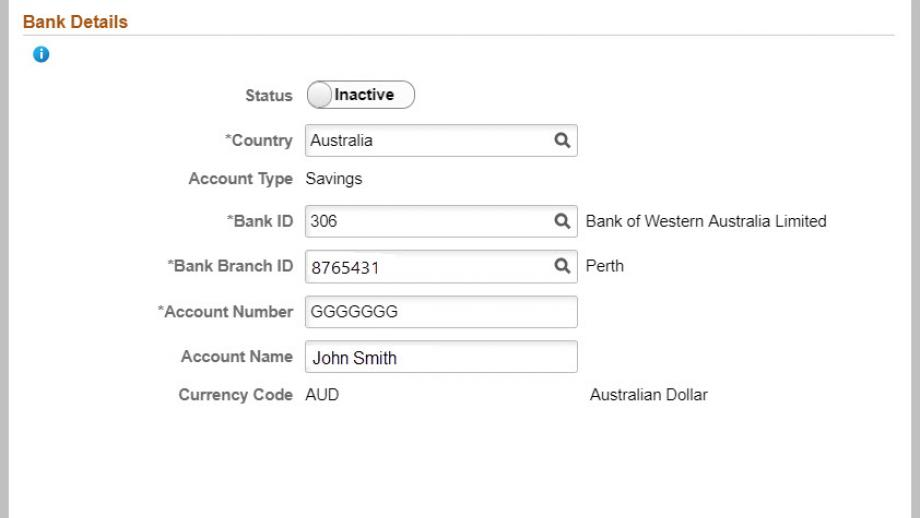 bank accounts page in employee self service