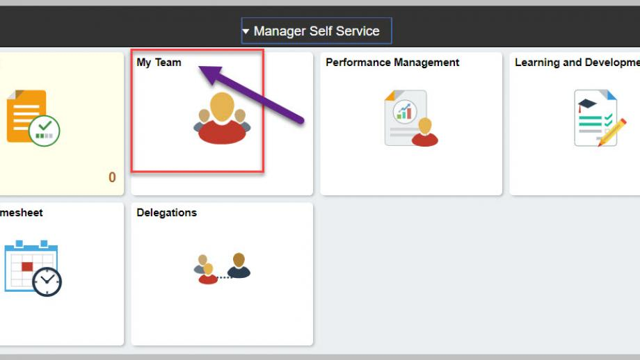 Manager Self Service portal page highlighting the My Team option
